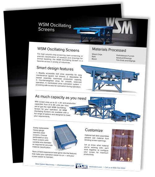 WSM Oscillating Screens downloadable PDF flyer